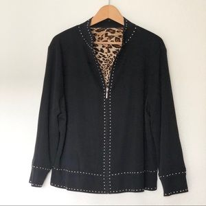 Ming Wang | black zip up | animal print lining